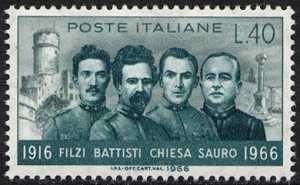 Cinquantenario della morte di Cesare Battisti, Damiano Chiesa, Fabio Filzi, Nazario Sauro - ritratto dei patrioti