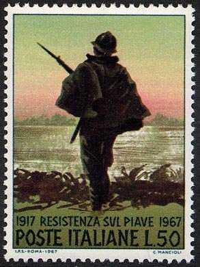Cinquantenario della resistenza sul Piave - fante di sentinella