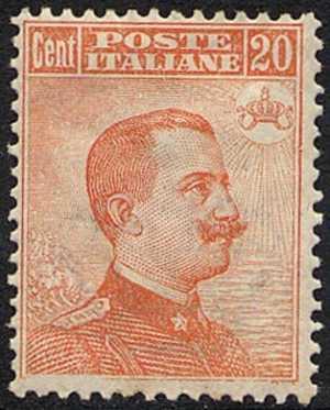 1917 - Vittorio Emanuele III - tipo del 1906 con filigrana