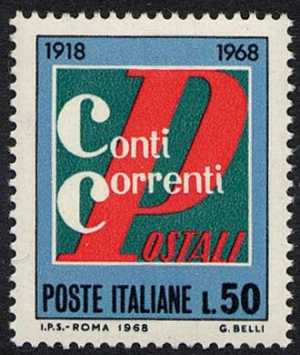 Cinquantenario del servizio dei conti correnti postali - L. 50