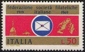 inquantenario della Federazionee fra le Società Filateliche Italiane - Mole Antonlliana e Cervino