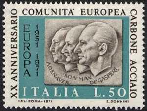 Ventennale della C.E.C.A. - Adenauer, Schuman, De Gasperi - L. 50