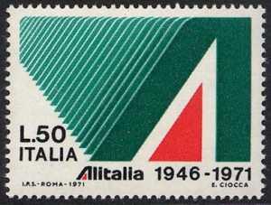 25° Anniversario dell'Alitalia - L. 50