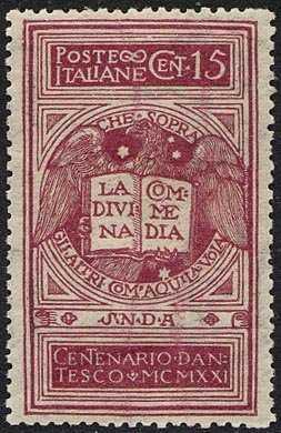 1921 - 6° Centenario della morte di Dante Alighieri - Aquila che tiene la Divina Commedia