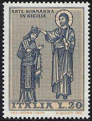Arte Normanna in Sicilia - Mosaici della Chiesa Martorana a Palermo - Cristo incorona Re Ruggiero