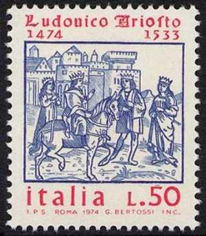 5° Centenario della nascita di Ludovico Ariosto - xilografia per antica edizione dell'Orlando Furioso