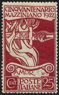 1922 - 50° Anniversario della morte di Giuseppe Mazzini - disegno allegorico