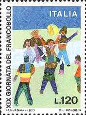 Giornata del Francobollo - Pallavolo - bozzetto di M.L. Bologni