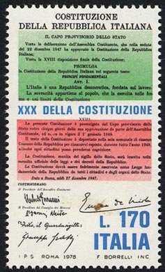 30° Anniversario della Costituzione della Repubblica - stralcio dlla Costituzione