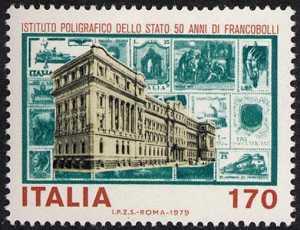 Cinquantenario dei primi francobolli stampati dall'Istituto Poligrafico dello Stato - sede dell'Istituto