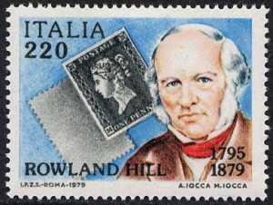 Centenario della morte di Sir Rowland Hill - ritratto e penny black