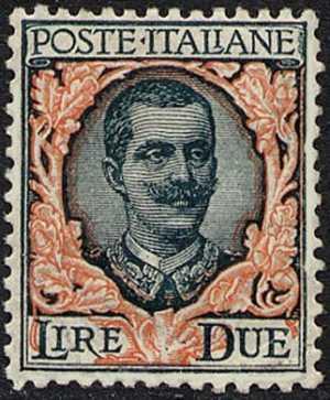 1923 - Francobollo del 1901 ( «floreale» ) con valore in lettere