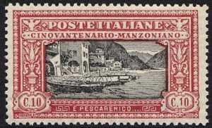 1923 - 50º anniversario della morte di Alessandro Manzoni - veduta di Pescarenico