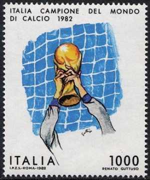 Italia campione del mondo di calcio 1982 - disegno di Renato Guttuso
