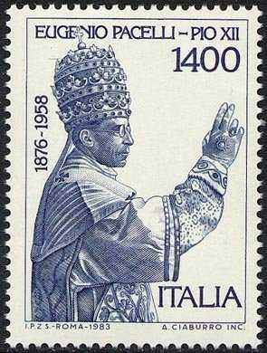 25° Anniversario della morte di Papa Pio XII - L. 1400