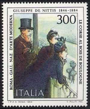 Arte italiana - Giuseppe De Nittis - 'Corse al Blois de Boulogne'