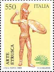 « Italia '85  » - Esposizione mondiale di filatelia - 2ª serie - Arte etrusca - bronzetto votivo