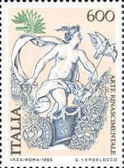 « Italia '85 » - Esposizione mondiale di filatelia - 3ª serie - Arte rinascimentale - affresco di Raffaello