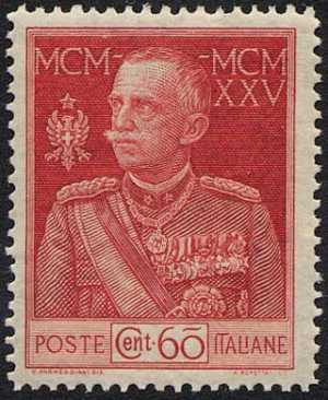 1925/26  - Giubileo del re Vittorio Emanuele III - dent. 13 ½