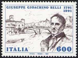 Bicentenario della nascita di Giuseppe Gioacchino Belli - ritratto del poeta e veduta di Roma