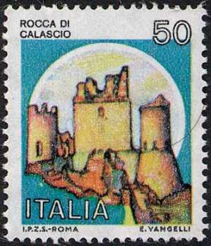 Castelli d'Italia - Serie ordinaria - Rocca di Calascio, L'Aquila -  con millesimo 1980
