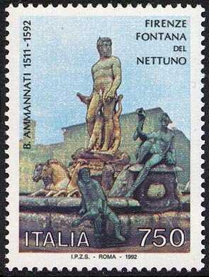 Patrimonio artistico e culturale italiano - La fontana del Nettuno a Firenze  - opera di B. Ammirati