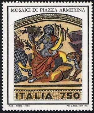 Patrimonio artistico e culturale italiano - Mosaici pavimentali della Villa Romana del Casale a Piazza Armerina - Enna - «Africa»