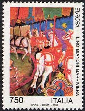 Europa - 38ª serie - Arte Contemporanea -  Lino Bianchi Barriviera - «Cavalli della giostra»