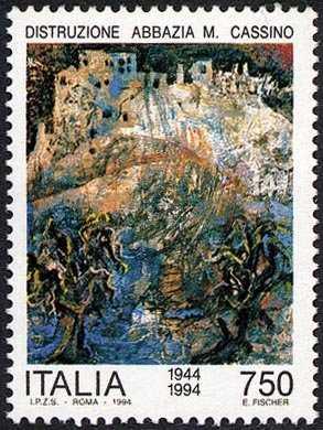 Avvenimenti storici della II guerra mondiale nel cinquantenario - Distruzione Abbazia di Montecassino