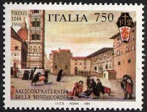 750° Anniversario della Arciconfraternita della Misericordia di Firenze - «Piazza del Duomo di Firenze» - dipinto del Cigoli