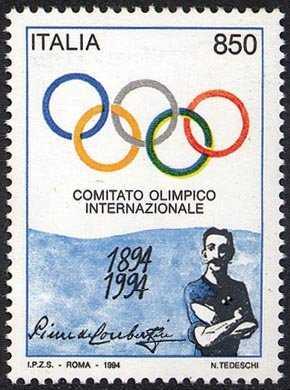 Centenario del C.I.O. - Comitato Olimpico Internazionale - anelli olimpici e P. de Coubertin