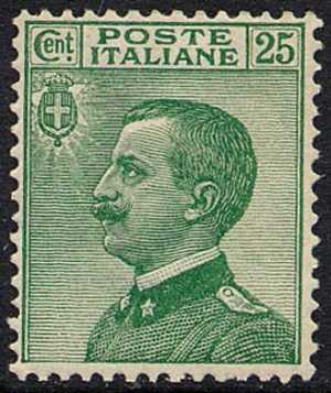 1927 - Tipo del 1908 - Effige di Vittorio Emanuele III - volta a sinistra