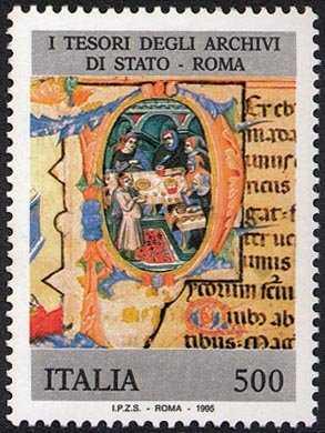 I tesori dei musei e degli archivi nazionali - Archivio  di Roma - Statuto S. Spirito Sassia, XIV sec.