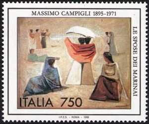 Patrimonio artistico e culturale italiano - Centenario della nascita di Massimo Campigli - dipinto «Le spose dei Marinai»