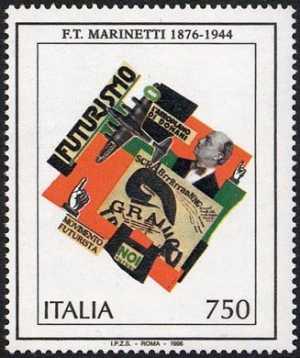 Patrimonio artistico e culturale italiano - Centenario della nascita di Filippo Tommaso Marinetti - composizione futurista