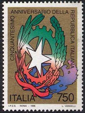 «Le Istituzioni» - Cinquantenario della Repubblica Italiana - emblema della Repubblica