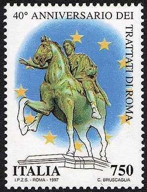 «Le Istituzioni» - 40° Anniversario dei Trattati di Roma - Marco Aurelio, statua equestre