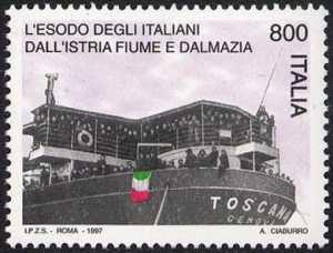 Cinquantenario dell'esodo degli italiani dalla Dalmazia, Fiume ed Istria - esuli sul piroscafo «Toscana»