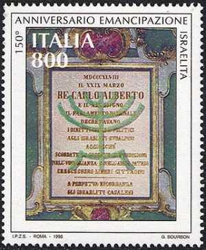 150° Anniversario della firma dell'atto di emancipazione degli ebrei italiani - «Decreto di Re Carlo Alberto»