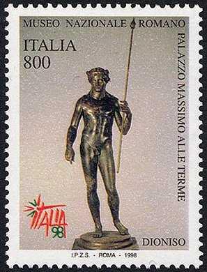 «Italia '98» - Esposizione Mondiale di Filatelia, Milano - «Giornata dell'arte» - Statua del dio greco Dioniso conservata nel Museo di Palazzo Massimo alle Terme di Roma