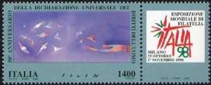 «Italia '98» - Esposizione Mondiale di Filatelia, Milano - «Giornata dei Diritti dell'Uomo» - emissione congiunta con l'ONU di Ginevra - opera di J. M. Folon