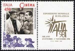 «Italia '98» - Esposizione mondiale di Filatelia, Milano - «Giornata del Cinema» - «Ti conosco mascherina» Edoardo De Filippo