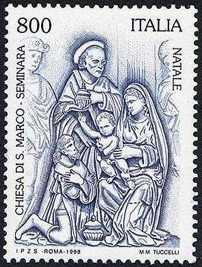 Natale - Particolare del dossale marmoreo posto nella chiesa di S. Marco in Seminara - «Epifania»