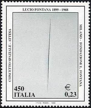 Patrimonio artistico e culturale italiano - Centenario della nascita di Lucio Fontana - «Concetto spaziale-Attesa»