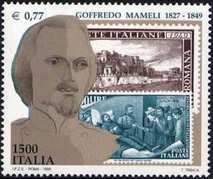 150° Anniversario della morte di Goffredo Mameli e 150° Anniversario della Repubblica Romana - busto del poeta e francobolli