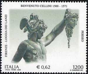 Patrimonio artistico e culturale italiano - V° Centenario della nascita di Benvenuto Cellini - scultore - «Perseo» statua in bronzo