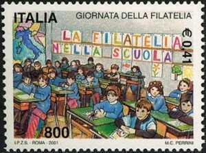Giornata della filatelia - alunni a scuola