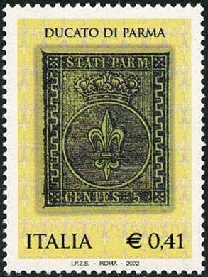 Celebrazione dei primi francobolli del Ducato di Parma - «CENTS  5»