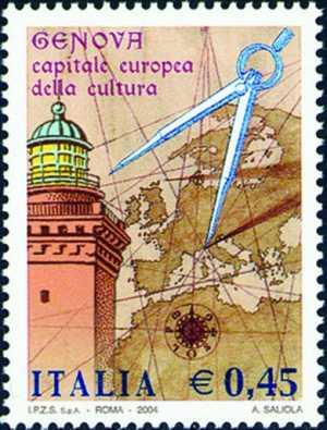 «Genova 2004 - Capitale Europea della Cultura»  - antica cartina e «La Lanterna»