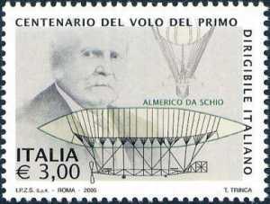 Centenario del volo del primo dirigibile italiano, ad opera di Almerico da Schio - disegni del dirigibile «Italia»